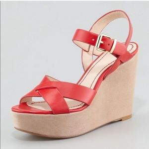 NWOT Pour la Victoire red leather wedge sandals